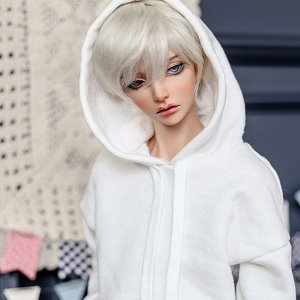 SD13 Boy Loose Basic Hooded T - White