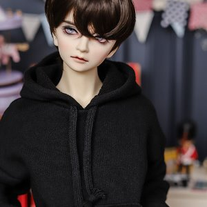 SD13 Boy Loose Basic Hooded T - Black