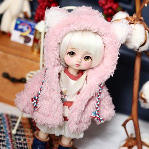Bear hooded fer jacket - Pink