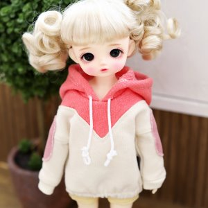 USD Two-color colouring hooded T_Pink