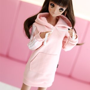 SD13 Girl & Smart Doll Three-Line Hooded One-piece - Pink