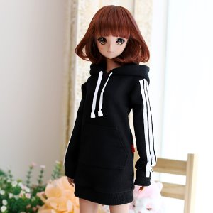 SD13 Girl & Smart Doll Three-Line Hooded One-piece - Black