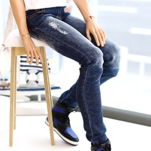 IDEALIAN 75 New Washing Damage Jeans - Blue