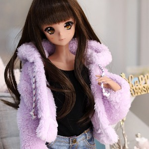 SD13 GIRL&Smart Doll Bear hooded fur jacket - Purple